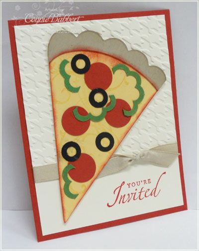 Stampin' Up!  Punch Art  Connie Babbert  Pizza