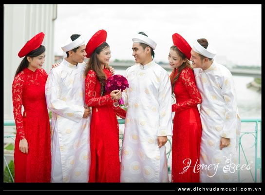 red lace ao dai