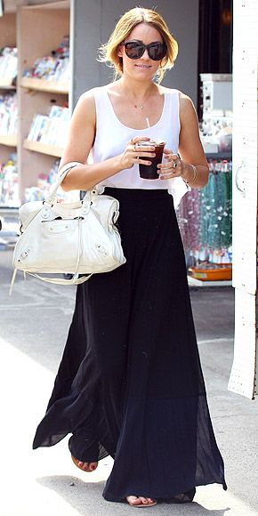 The maxi skirt paired with a basic tee