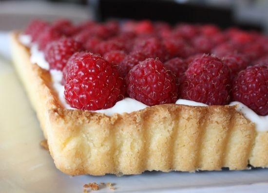 French raspberry tart with vanilla cream.