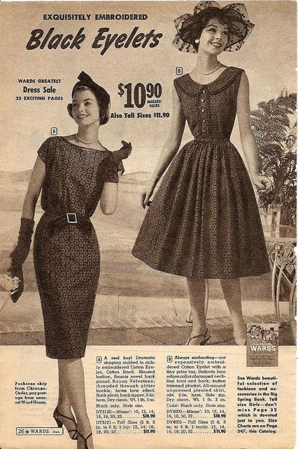 The perfect blend of chic and playful: black eyelet dresses. #eyelet #vintage #dress #retro #fashion #1950s #dress                                                                                                                                        ..