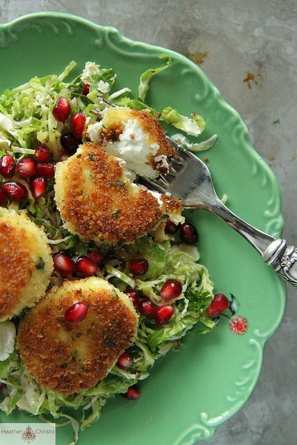 Shredded Brussels Sprouts Salad with Fried Goat Cheese.