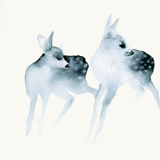 Ghost Fawns - Fine Art Print from Original Watercolor Painting  From dearcatherina