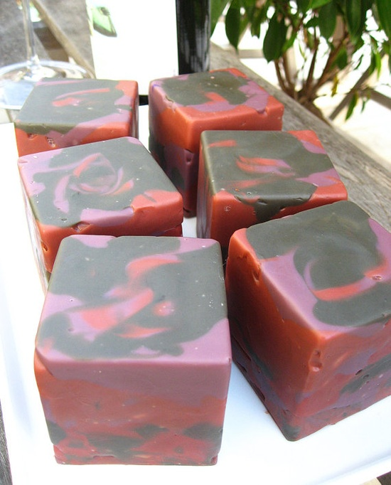 Handmade cold process soap made with Pinot Noir red wine