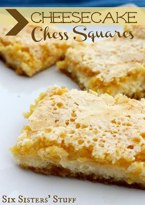 Cheesecake Chess Squares! You have to try these!!! From Sixsistersstuff.com #recipe #dessert #creamcheese