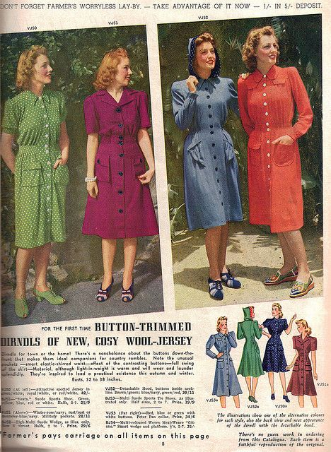 Lovely solid coloured dresses from the 1941 Autumn and Winter Farmer's Fashion Book. #vintage #1940s #fashion