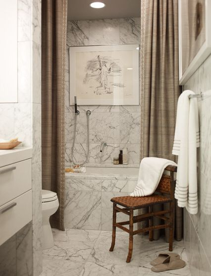 Love the drape shower curtain and the marble! Beautiful!!!  Design Chic: Things We Love: Chairs in Bathrooms