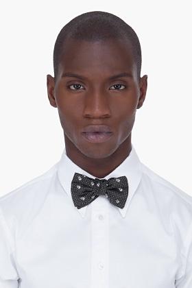ALEXANDER MCQUEEN Black Silk Skull Bow Tie