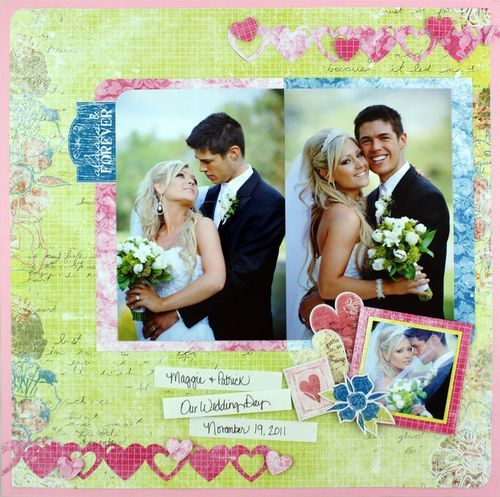 Always & Forever-Wedding Layout...use my colors...love the heart borders.