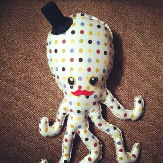Handmade Octopus Stuffed animal soft toy, cloth material, felt, toddler toy