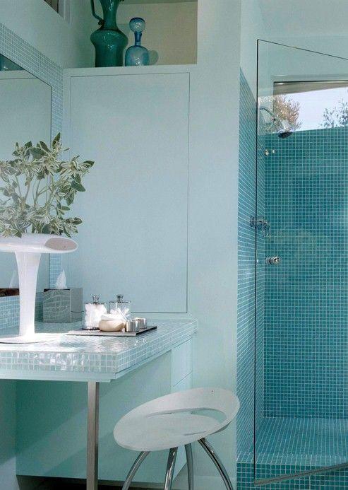blue-tiled shower