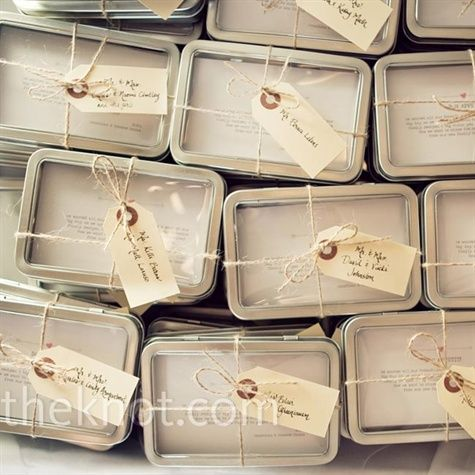 Recipe card favors - unique and inexpensive! Request family recipes and then package them in small tins.