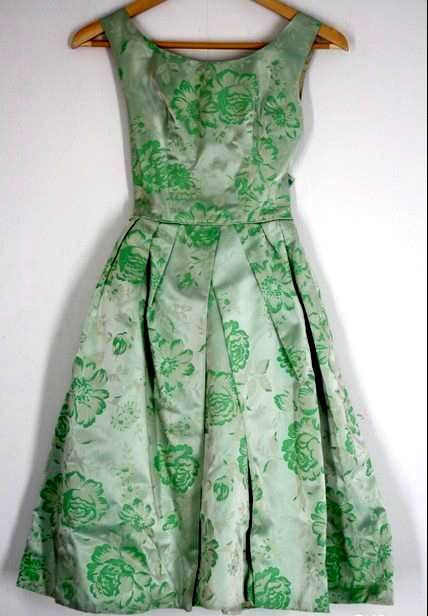 1950's Green Floral Satin Dress