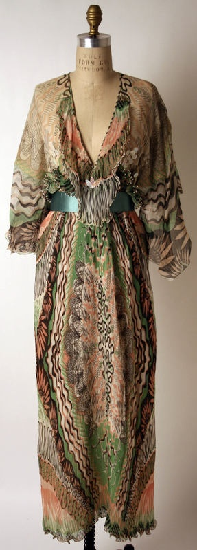 Evening dress Zandra Rhodes (British) ca. 1975 silk, plastic