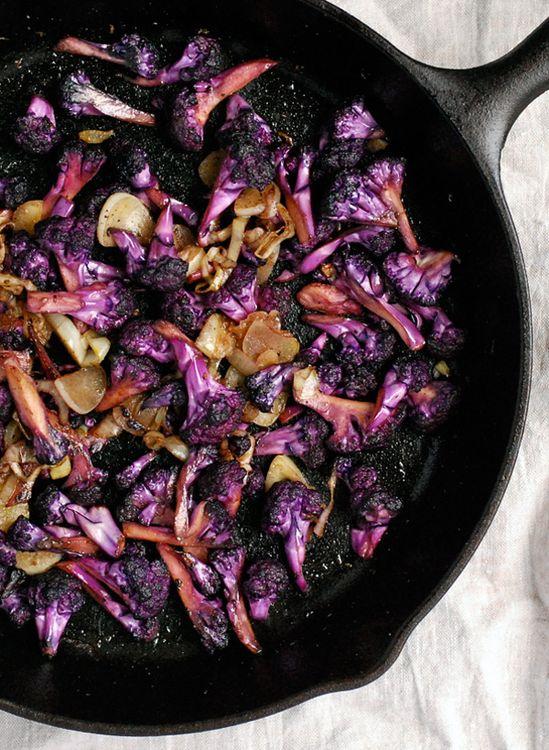 purple cauliflower with garlic and saffron