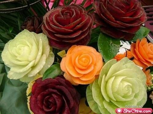 Rose centerpieces from food! How clever and creative.