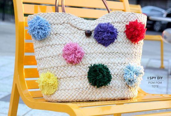 Pom Pom Tote #DIY #handmade #craft_ideas