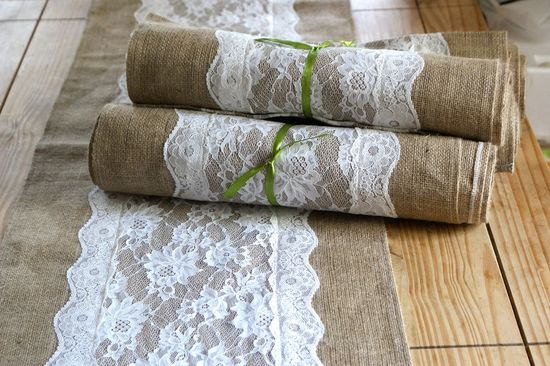 Burlap and lace wedding table runner