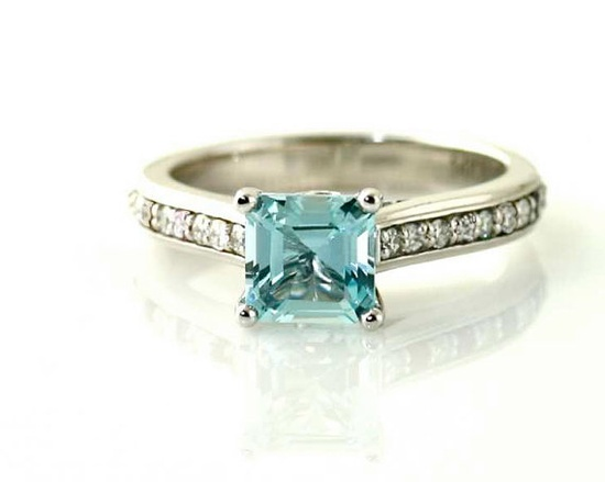 14K Aquamarine Ring Asscher Aquamarine Diamond Engagement Ring Custom Solitaire