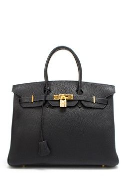 Vintage Hermes Leather Birkin 35 Handbag