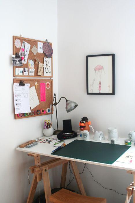 Les Miniboux workspace - close up on the desk