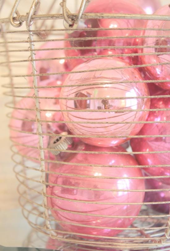 Shiny pink Christmas ornaments