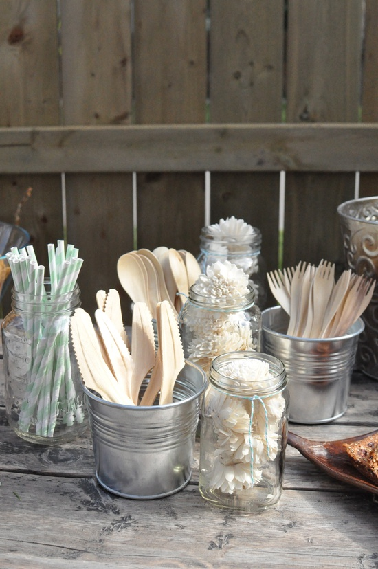 wooden cutlery and paper straws