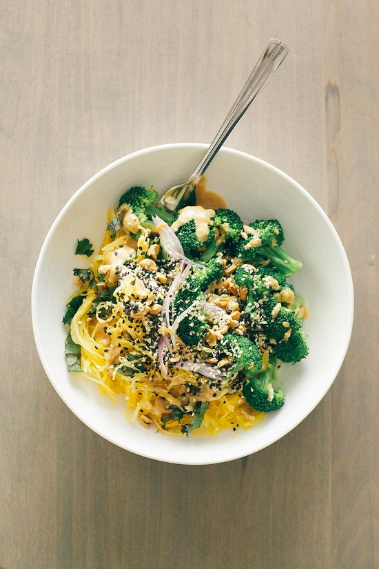 spaghetti squash noodle bowl + lime peanut sauce