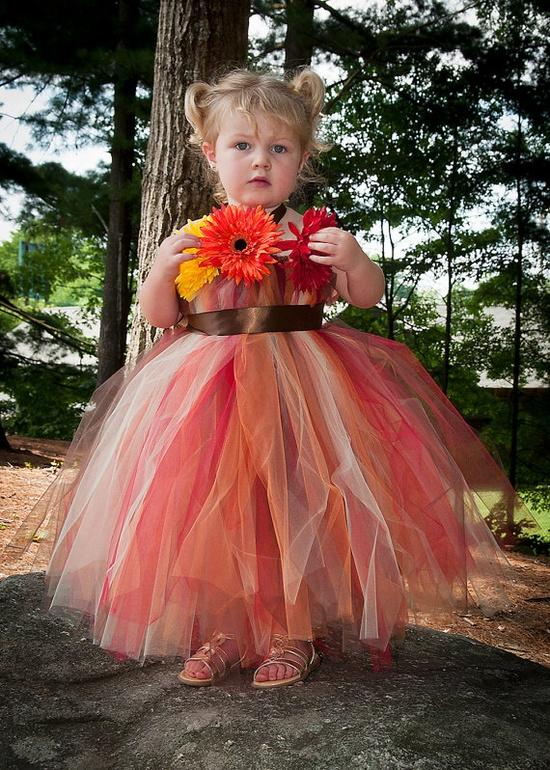 Tulle Flowergirl Dress Autumn Palette
