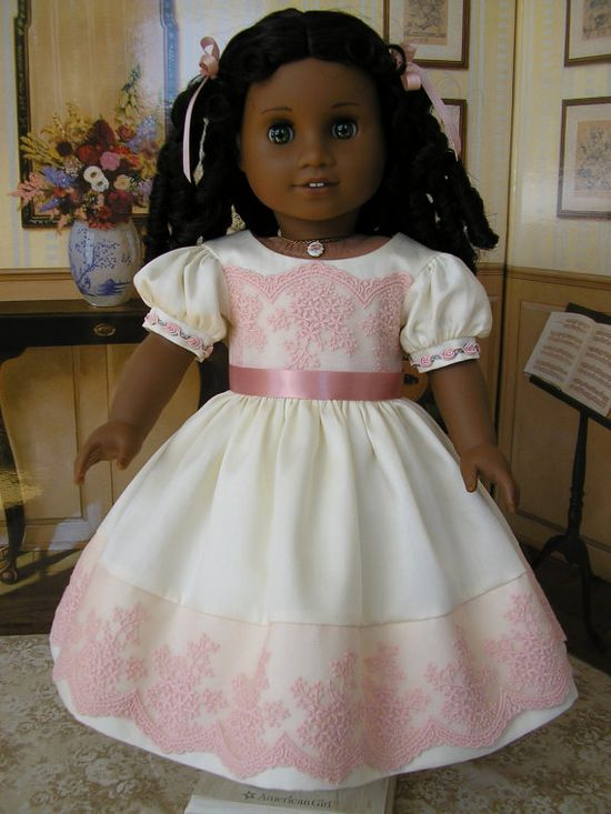 American Girl mid1800s cream cotton sateen dress with by dolltimes