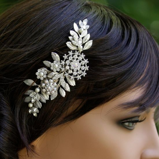 Wedding Hair Comb, Vintage leaves and Rhinestone, Vintage Bridal Comb, Wedding Hair Accessories, IVY.