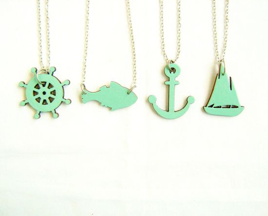 Sea Adventures Necklace - Your choice - handmade wood pendant charm necklace. $19.00, via Etsy.