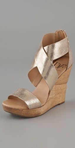 Love these gold DVF wedges for summer