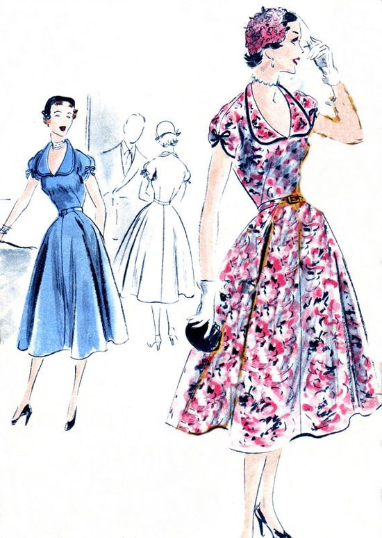 1950s Dress Pattern Vogue S4174 Day or Evening by paneenjerez, $18.00