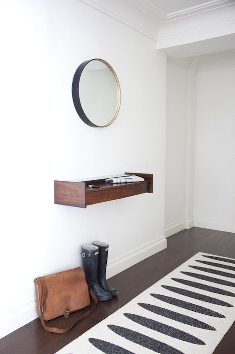 simple, modern shelf instead of a table