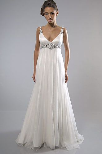 Beauty A-line Wedding Dress With Beading Decorated And The Romantic Skirt (BWD-026)