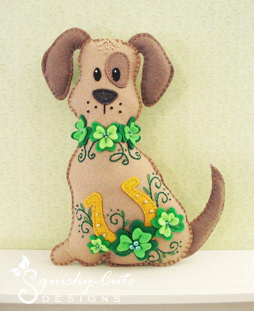 Dog Stuffed Animal Pattern - Felt Plushie Sewing Pattern & Tutorial - Lucky the St. Patrick's Day Dog