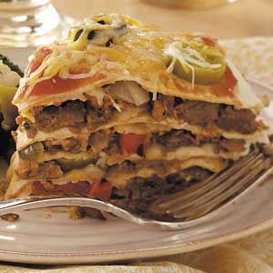 Vegetarian Tortilla Stack Recipe - from Taste of Home.