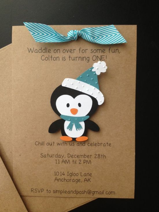Penguin Handmade Invitations Custom Made for Birthday Party or Baby Shower on Kraft Paper, Set of 8 Invites