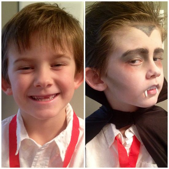 Turning cute kids into vampires. #vampiremakeup #kidscostumes #Halloween