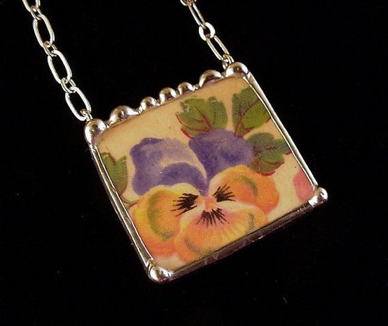 Broken china jewelry necklace antique pansy chintz china