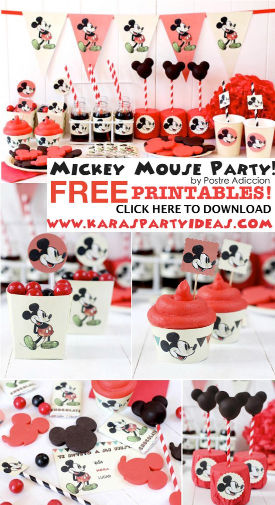 MICKEY MOUSE PARTY with FREE PARTY PRINTABLES - tags, banner, invitation, cupcake toppers, cupcake wrappers, boxes, hats, cards & more!! Tons of cute ideas, too! Via Karas Party Ideas