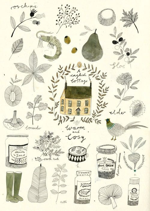 """""""An English cottage, warm and cosy."""" Love this illustration by Katt Frank."""