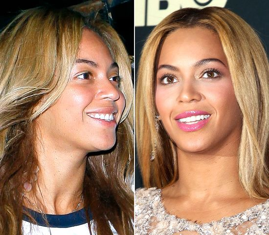 Beyonce with and without makeup