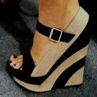 Khaki / Tan and Black Wedge Sandals