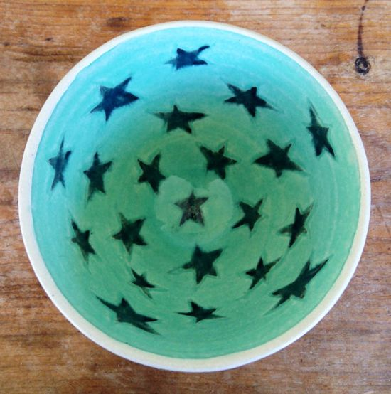 Handmade pottery bowl. Aqua blue green with by HomeThrownPottery, $32.00