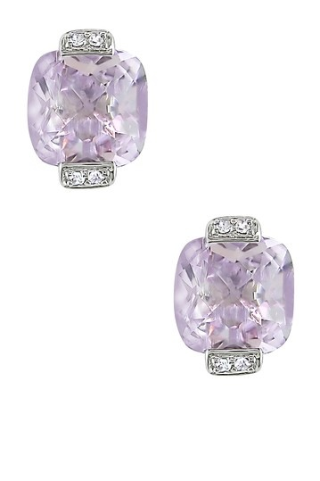 10K White Gold Cushion Pink Amethyst & Diamond Accented Earrings
