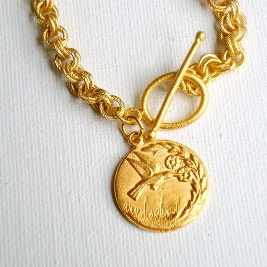 Gold Necklace Gold Jewelry Hummingbird by jewelrybycarmal on Etsy, $85.00