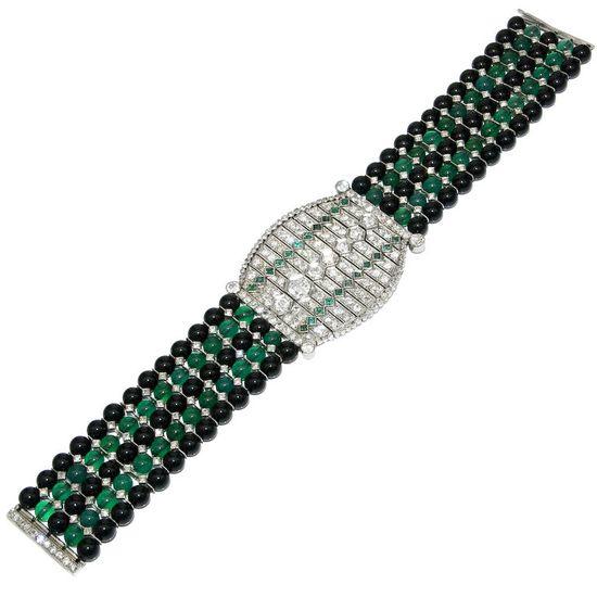 Incredible Art Deco Diamond Onyx Bracelet