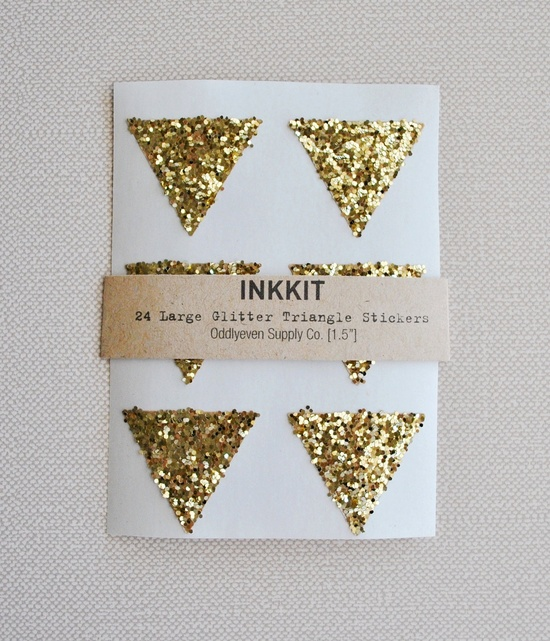 gold glitter large triangle stickers / ink kit